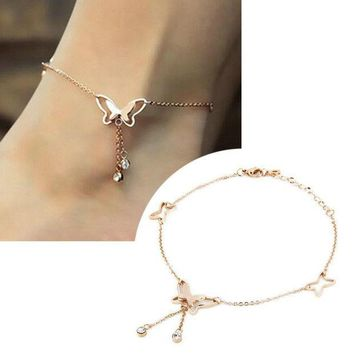 CREYL 1Pcs Tassel Anklets Casual Beach Vacation Anklets Bracelets Jewelry Ankle chain New Butterfly Single Rose Gold Tassels hot