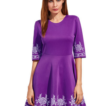 Purple Round Neck Embroidered Skater Dress