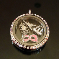 25mm Floating Charm Stainless Steel Titanium Silver Locket Glass Necklace Zircon Crystal Origami Owl Paris Passport Mask Purse Shop