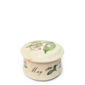 Vintage Lefton Antique Ivory Hand Painted Round Tinket Box KW642 March With Flowers