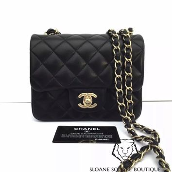 CHANEL BLACK BAG 2.55 LAMB LEATHER SQUARE MINI LIGHT GOLD HARDWARE GHW HARRODS