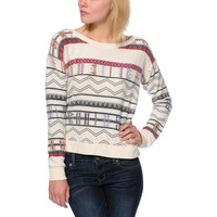 Billabong Girls Melena Printed White Crew Neck Sweater at Zumiez : PDP