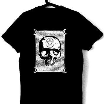 T-Shirt for man with original illustration MALEFICARUM,black color,ecological white ink,original witchcraft text,occultism,esoteric,dark