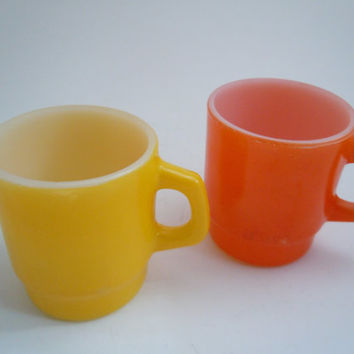 Vintage Anchor Hocking Mugs (2) | Colorful Yellow and Orange Ceramic Stackable Mugs | Mid Century Retro Fire King Mug Coffee Mugs Milk White