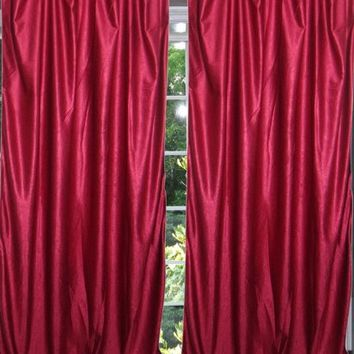 "Mogul Indian Sari Curtains Maroon Tab Top Drape / Panel- Pair Window Treatment Ideas (Size: Length: 84"".)"