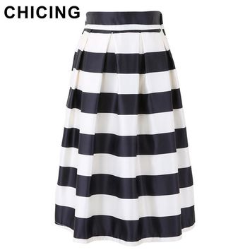 CHICING 2017 Fashion Women Retro Black and White Fringe Print Pleated High Waist Flared Tutu Midi Women Striped Skirts A1506008