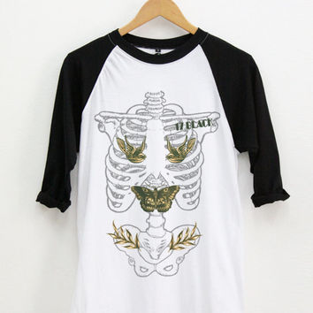 Ribcage Harry Styles Tattoo Baseball Shirt / Raglan / 3/4 Sleeve T Shirt / Unisex Clothing Size M / One Direction Long Sleeve Shirt
