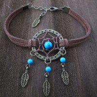 Antique Bronze Dream Catcher Bracelet , Feather Bracelet , Turquoise Beads Bracelet ,Native American Jewelry,Unique Gifts