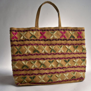 Vintage embroidered burlap purse tote bag