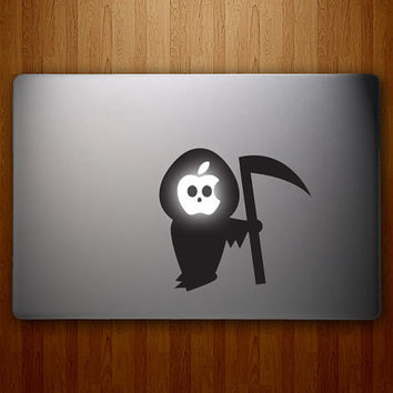 The Grim Apple - Grim Reaper Decal - Halloween Decal - Macbook Vinyl Decal