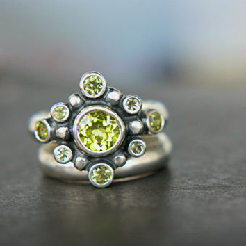 Peridot Engagement Ring Set Peridot Alternative Engagement Ring Art Deco Green Gem Wedding Set August Birthstone