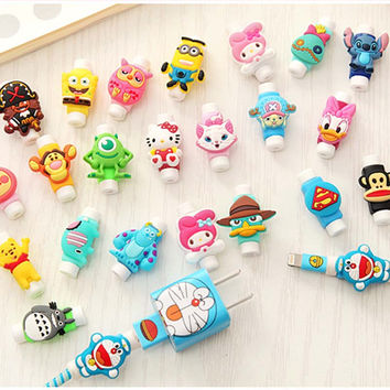 FFFAS Cute Cartoon Cable Protector de cabo USB Cable Winder Cover Case accessories For IPhone 5 5s 6 6s 7 plus cable Protect