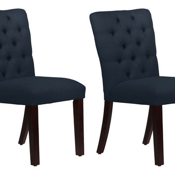 Navy Croft Tufted Side Chairs, Pair, Dining Chair Sets