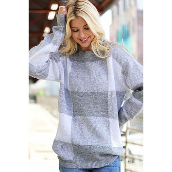 Oversize Plaid Knit Sweaters - Gray