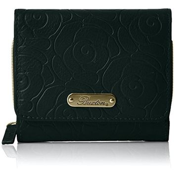Buxton Womens Rose Garden Embossed Leather Trifold Wallet