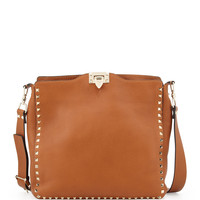 Rockstud Flip-Lock Messenger Bag, Tan - Valentino