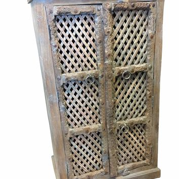 Mogul Interior Antique Carved Indian Blue Cabinet Latticed window Hand made Wooden Storage Vintage Furniture Distressed FARMHOUSE COUNTRY Conscious Armoire