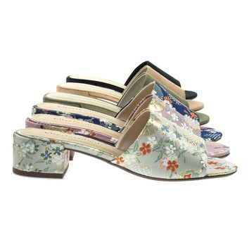 Watson Beige Ginza By Classified, Low Block Heel Slide Mule Sandal, Solid & Floral Embroidered