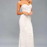 Olivia White Sequin Strapless Maxi Dress
