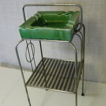 Vintage Mid Century Smoking Stand Ashtray - Metal Stand with Green Drip Glaze Ashtray
