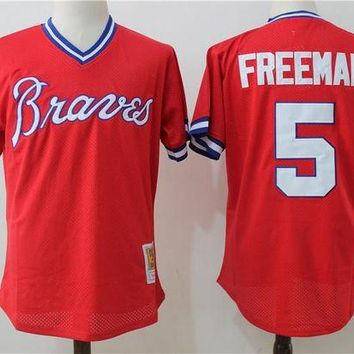 ONETOW Men's Atlanta Braves Freddie Freeman Mitchell & Ness Red 1980 Authentic Cooperstown Collection Mesh Batting Practice Jersey