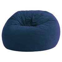Large 4Ft Memory Foam Bean Bag Chair in Sky Blue Suede - Made in USA