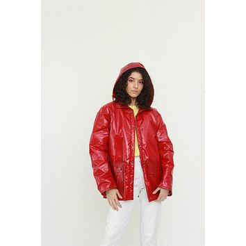 Vintage Red PVC Rain Jacket / One Size