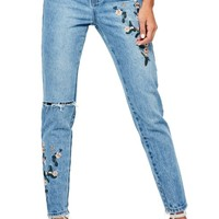 Missguided Riot Ripped High Waist Embroidered Jeans | Nordstrom