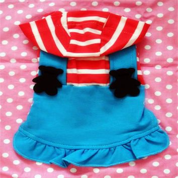 Teddy Bear Lovers Strap Dress for Cute Dog's Clothing-Size 14