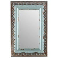 Distressed Blue Wood & Metal Mirror | Hobby Lobby