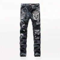 Fashion Men's Fashion Slim Handcrafts Embroidery Skull Men Ripped Holes Jeans [6541739587]