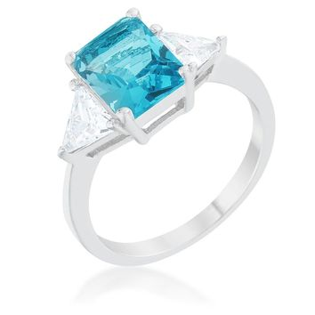 Classic Blue Topaz White Gold Rhodium Engagement Ring