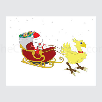 Final Fantasy Printable Christmas Card Moogle and Chocobo