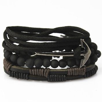 4 Piece Stacked Leather Bracelet