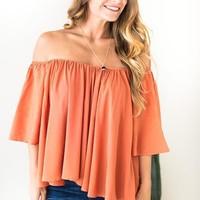 In the Shade Off Shoulder Terracotta Top