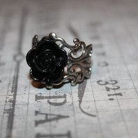 Black Rose Ring on Adjustable Antique Bronze Filigree Band - Fashion Ring- Unique Gift for Her