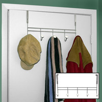 Hampton Direct Over The Door Metal Hook Rack -  Silver with Porcelain Fenials