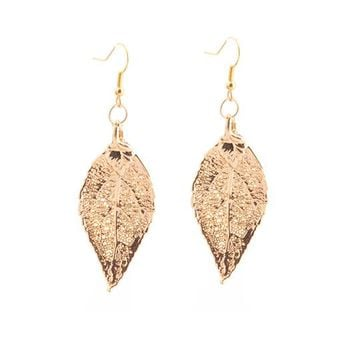 Real Gold leaf Earrings Evergreen Leaf - Small