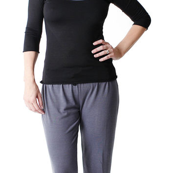 Amamante 3/4 Sleeve Pajama Pant Set Black/Charcoal