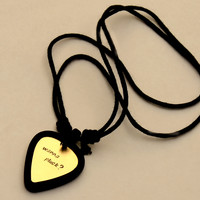 Guitar Pick Holder Necklace with Custom Brass Guitar Pick Rocking Out Wanna Pluck