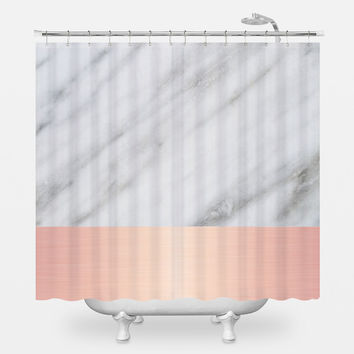 Pale Pink on Marble Shower Curtain