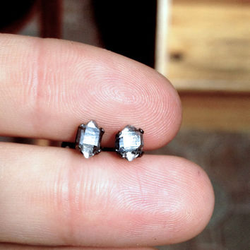 Herkimer diamond earrings set in black sterling silver
