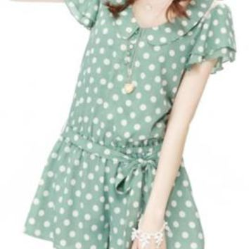 Easily Amused Polka Dot Print Flutter Sleeve Romper in Green Tea | Sincerely Sweet Boutique