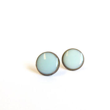 Tiny stud earrings greyed jade earring studs by agatechristina