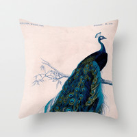 Vintage peacock bird print colorful feathers 1800s antique art nouveau deco nature book plate Throw Pillow by iGallery