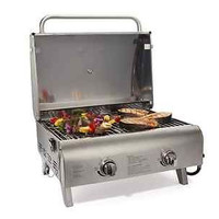 Portable BBQ Grill Tabletop Stainless Steel Twist Start Ignition Indoor