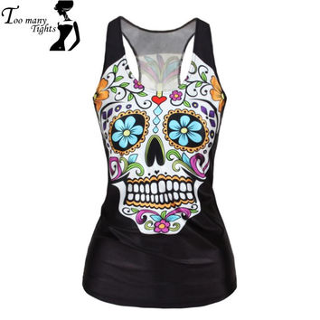 women Floral sugar skull tank tops adventure time camisole