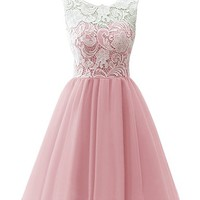 JY FASHION® Women's Ruched Sleeveless Lace Short Party Dresses Evening Gowns #081 US 22 pink