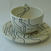 Circuit Board and Map Espresso Cup and Saucer Set 3