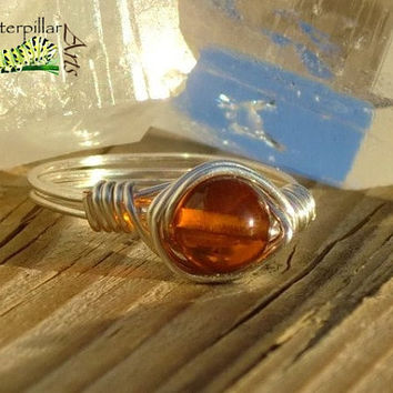 Genuine Baltic Amber Ring - Made to Order - Silver Plated Copper Wire
